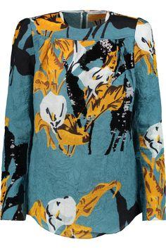 CARVEN Sequin-Embellished Crinkled-Satin Top. #carven #cloth #top