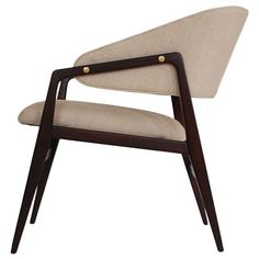 Gio Ponti; Black Walnut and Brass Lounge Chair for Singer & Sons, c1958.