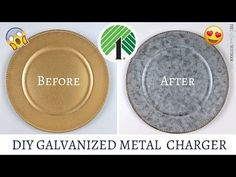 DIY Dollar Tree Galvanized Metal Chargers – The Latina Next Door Make your own DIY Dollar Tree Galvanized Metal Chargers without the expense of real ones! They're super easy to make using my process. Dollar Tree Plates, Dollar Tree Decor, Dollar Tree Crafts, Charger Plate Crafts, Latina, Before And After Diy, Diy Kit, Galvanized Metal, Galvanized Decor