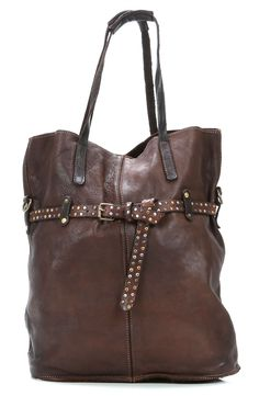 Campomaggi Colour Tote Leather darkbrown 38 cm - C1345VCVL-1701 - Designer Bags Shop - wardow.com