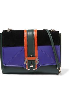 PAULA CADEMARTORI Alice suede and leather shoulder bag. #paulacademartori #bags #shoulder bags #suede #