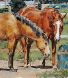 """At the Water Trough"" ~ x Oil on Board by Lindsey Bittner Graham. Recent Awards: 2012 Ex Arte Equinus 5 International Equine Art Competition. the Portfolio Award Runner Up and the Editor's Award Runner Up! Animal Paintings, Animal Drawings, Horse Paintings, Sketch Painting, Gouache Painting, Horse Photos, Horse Pictures, Watercolor Techniques, Painting Techniques"