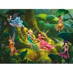 Disney Fairies - Tinker Bell Periwinkle and Fairies Magic Forest L x W 4 Piece Wallpaper Fairy Wallpaper, Star Wallpaper, Nursery Wallpaper, Paper Wallpaper, Green Wallpaper, Photo Wallpaper, Disney Wallpaper, Hades Disney, Tinker Bell