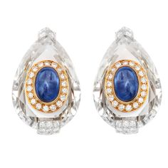 DAVID WEBB Carved Crystal Diamond Sapphire Ear Clips | From a unique collection of vintage clip-on earrings at http://www.1stdibs.com/jewelry/earrings/clip-on-earrings/