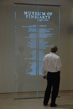 Amri Studio's carved glass donor wall celebrates donors to the Museum of Fine Arts in St. The museum has an exceptional collection of Steuben glass, which made a glass donor wall the perfect fit for them. Environmental Graphic Design, Environmental Graphics, Wayfinding Signage, Signage Design, Display Design, Stand Design, Design Design, Booth Design, Jüdisches Museum