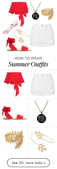 """Summer Outfit"" by jordanebert on Polyvore featuring Saloni, Marques'Almeida, Miss Selfridge, Gorjana and Topshop"