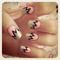 Cool silver, black, and pink nail art  #brayola.com