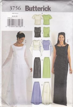 Butterick Sewing Pattern 3756 Misses Size 6-10 Easy Wedding Gown Formal 2-Piece Dress Top Skirt  --  Need a different size or pattern? Check out our store www.MoonwishesSewingandCrafts.com for 8000+ uncut sewing patterns all sizes and styles! Buy 2 or more patterns and get an automatic upgrade to Priority Mail in the US!