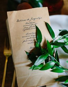 paper bag menu cards | Meg Perotti