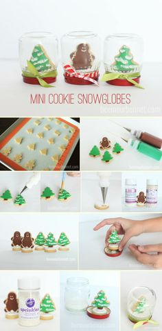 Mini cookie snowglobes - DIY Stuff Would do this with cupcakes :)