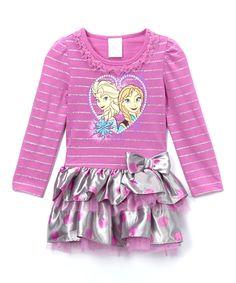 Another great find on #zulily! Purple Stripe Frozen Dress - Girls by Frozen #zulilyfinds
