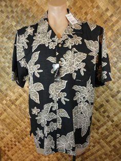 NWT - PIERRE CARDIN Mens HAWAIIAN PLUMERIA FOLIAGE Print 100% SILK Shirt - LARGE #PierreCardin #Hawaiian