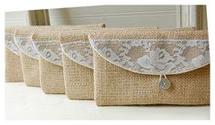 burlap lace bag clutch set 3 4 5 6 rustic wedding rose by hoganfe, $19.00