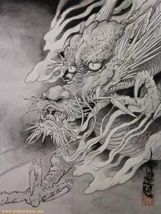 This dragon is one step past the beautiful dragons. To me seems like the ancient one . Japanese Dragon Tattoos, Japanese Tattoo Art, Japanese Tattoo Designs, Japanese Sleeve Tattoos, Japanese Art, Koi Dragon, Dragon Sketch, Asian Tattoos, Arabic Tattoos