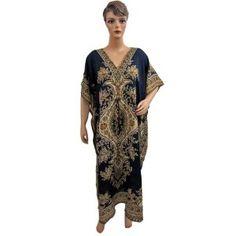 Boho Gypsy Blue Evening Dress Womens Satin Kaftan Caftan Kimono Sleeve Resort Wear Dress (Apparel)