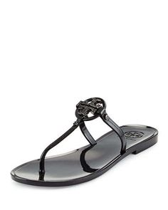X2JP6 Tory Burch Mini Miller Flat Thong Sandal, Black