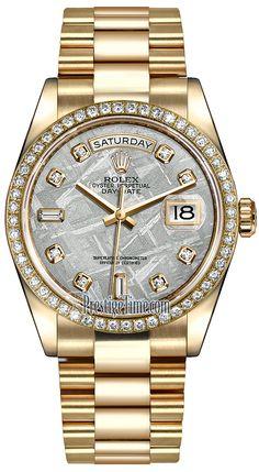 Rolex Day-Date 36mm Yellow Gold Diamond Bezel 118348 Meteorite Diamond President