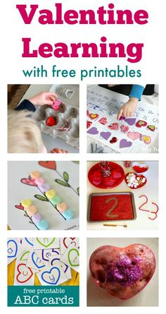 Valentine activities and Valentine printables - ideas for Valentine-themed math, literacy and science