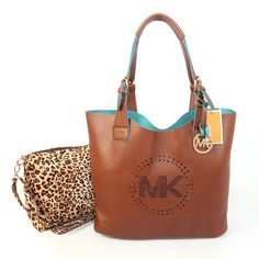 Michael Kors Perforated Logo Grab Large Brown Tote