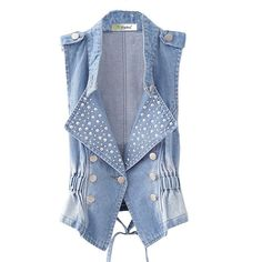 Partiss Womens Cowboy Sleeveless Waist Denim Vest ($21) ❤ liked on Polyvore featuring outerwear, vests, western vest, denim vests, denim waistcoat, cowboy vest and sleeveless waistcoat