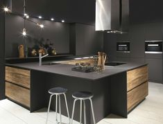 Kitchen Room Design, Modern Kitchen Design, Kitchen Interior, Kitchen Decor, Kitchen Designs, Office Interior Design, Office Interiors, Kitchen Without Handles, Black Kitchens