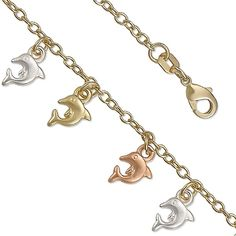 14K Yellow Gold Plated Tri-Colored Dolphin Charm Bracelet