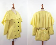 yellow 1940s jacket capelet / seventies makes forties / cape jacket made in france by MyLoftVintage on Etsy