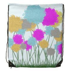Splat Painted Flowers Drawstring Backpack.  $17.95