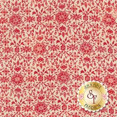 """Evergreen 30405-12 Cherry by BasicGrey for Moda Fabrics: Evergreen is a collection by BasicGrey for Moda Fabrics. This fabric features a red snowflake and floral design on a cream background. Width: 43""""/44""""Material: 100% CottonSwatch Size: 6"""" x 6"""""""