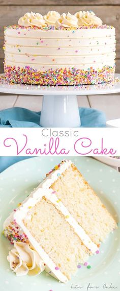 This Classic Vanilla Cake pairs fluffy vanilla cake layers with a silky vanilla . This Classic Vanilla Cake pairs fluffy vanilla cake layers with a silky vanilla buttercream. The perfect cake for bi Cupcake Recipes, Baking Recipes, Cupcake Cakes, Dessert Recipes, Vanilla Cake Recipes, Layer Cake Recipes, Basic Layer Cake Recipe, Dairy Free Vanilla Cake, Vanilla Pudding Cake