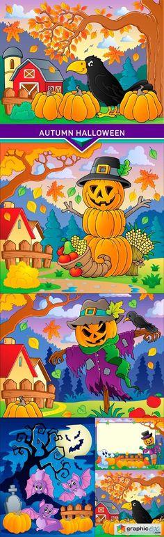 Autumn Halloween 5X EPS