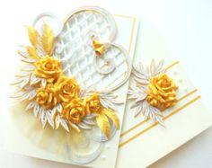 Tarjeta de felicitación de boda / boda de Encañonado, hecho a mano, rosas, oro aniversario/caja