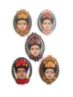 10% off - Frida Kahlo Cameo Brooch, Felt Cameo Brooch, Art Brooch, Wearable Art Jewelry. $25.20, via Etsy.