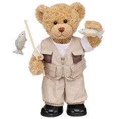 Fishing Pro Curly Teddy - Build-A-Bear Workshop US $41.00