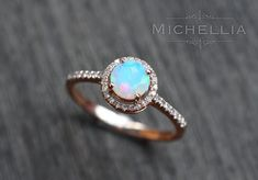 14K/18K Opal Ring with Halo Diamond by MichelliaDesigns