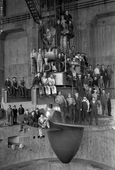 Kaplan Turbine being lowered into place at Bonneville Dam, circa 1937