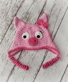 Pig Hat Crochet Pig Hat Pig Hat with Tail  by AdorablyHooked, $24.00