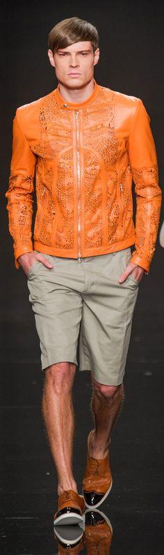 by John Richmond men's perforated orange biker jacket
