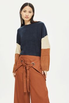 Colour Block Knitted Jumper by Native Youth