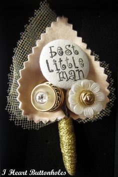Wedding Best Little Man Button Buttonhole / Boutonnière for Pageboy Double Leaf Background