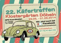 Die Käferbande Döbeln e.V. läd alle Freunde luftgekühlter Volkswagen zum 22. Döbelner Käfertreffen (über Himmelfahrt 29.05.-01.06.2014) nach Döbeln/Sachsen ein.