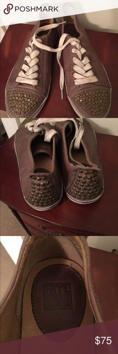 Frye sneakers Super cute, bought on posh but have yet to wear them. Some black around the white at the bottom. Frye Shoes