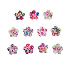 500PCs Mixed Wooden Buttons Floral Leaf Printed Flower Fit Sewing Scrapbook