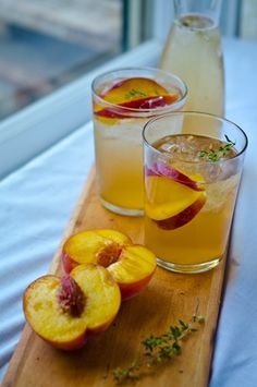 Non Alcoholic Peach    1 pound ripe peaches or any other fruit you desire, pears, apples, plums, blackberries    2 cups apple cider vinegar    1 cup fresh herbs such as thyme, basil or tarragon    ½ cup sugar or more to taste    soda water    ice