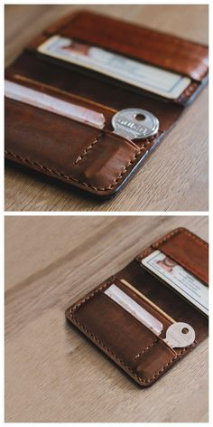 Leather Wallet Pattern, Handmade Leather Wallet, Leather Card Case, Diy Wallet, Card Wallet, Wallet Tutorial, Leather Men, Real Leather, Leather Jackets