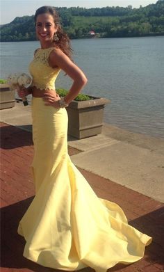 Lace Prom Dress New Style Two Piece Prom Dress,Yellow Prom Dresses,Long Evening Dress