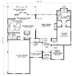 First Floor Plan of House Plan 62221