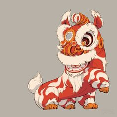 The Seventh Lion character design that depicts the Chinese cultural art of the Chinese New Year lion dance as a real animal. Chinese Lion Dance, Dragon Dance, Chinese Design, China Art, Creature Design, Lion Design, Kung Fu, Animal Drawings, Japanese Art