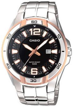 Men's Wrist Watches - Casio Mens MTP1305D1AV Silver StainlessSteel Quartz Watch with Black Dial >>> For more information, visit image link. (This is an Amazon affiliate link)