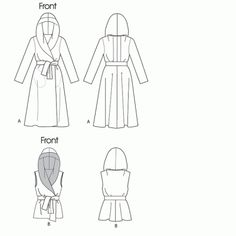 Peplum waist, wide shawl collar that doubles as a hood. Could even make it a high-low hem. Mens Sewing Patterns, Vogue Patterns, Diy Clothing, Sewing Clothes, Fashion Design Drawings, Minimalist Wardrobe, Pattern Drafting, Jacket Pattern, Double Knitting